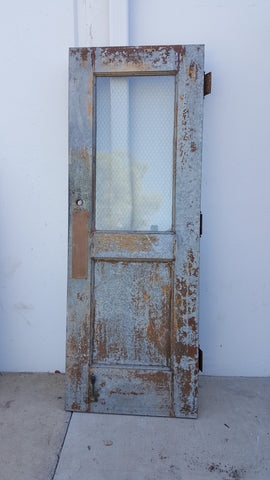 Metal and Chicken Wire Glass Door