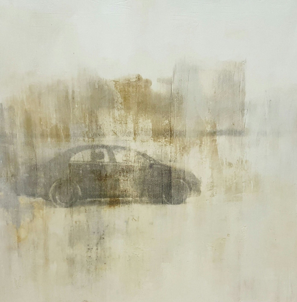 """Car in Snow Field"" Painting; Mixed Media on Canvas"