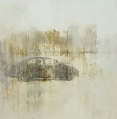 """Car in Snow Field"" Painting/Art"