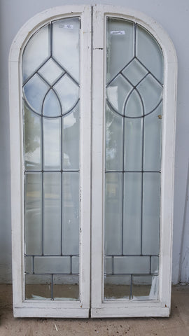 17 Pane Pair of Arched Leaded Glass Windows