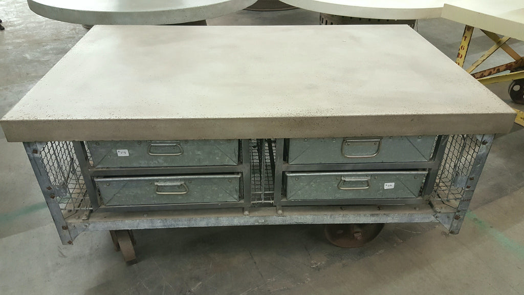 Industrial 8-Drawer Rolling Concrete Top Coffee Table