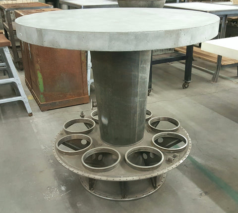 Bar table with Concrete Top and Jet Engine Base