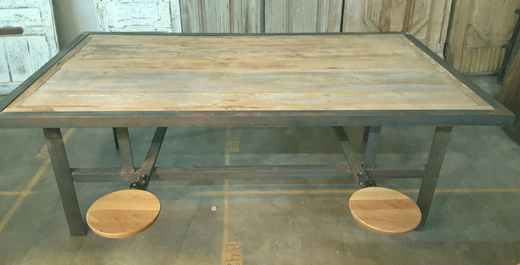 Iron and Wood Dining Table with Flip-Up Seats