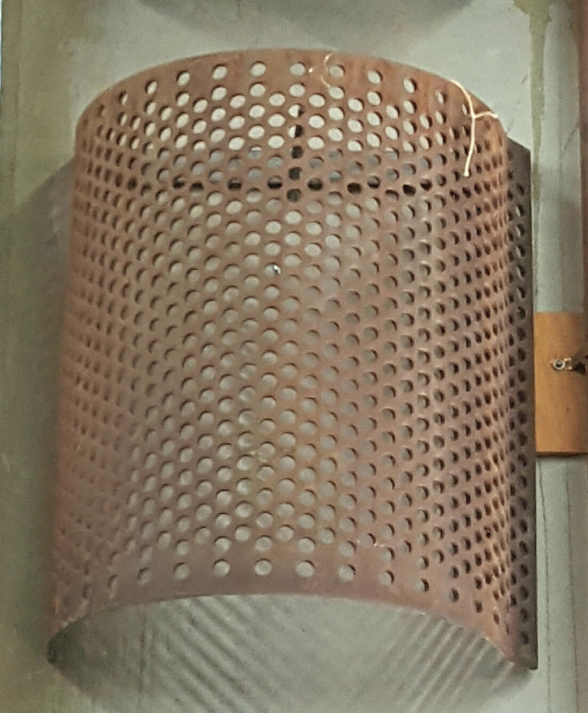 Repurposed Industrial Perforated Steel Wall Sconce
