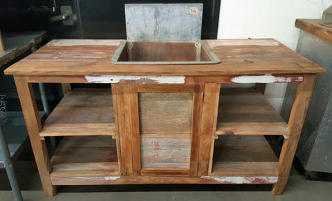 Industrial Sink in Barn Wood Cabinet (kitchen)