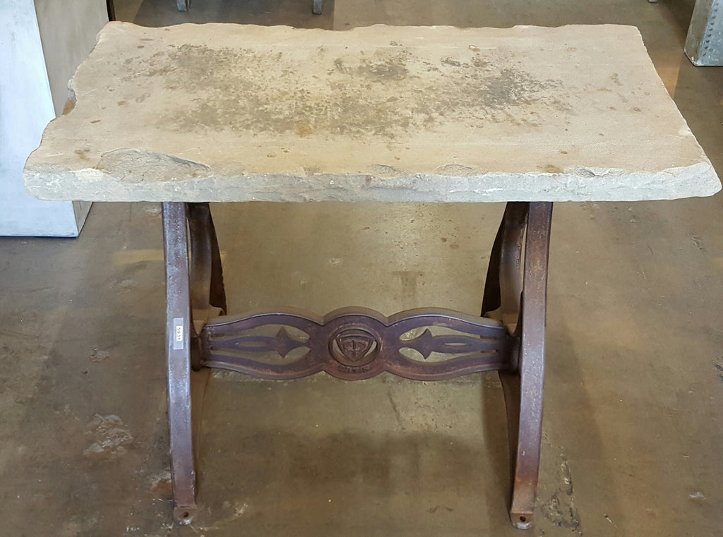Limestone Top Table with Industrial Machine Base
