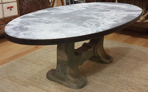 Oval Dining Table with Industrial Iron Base and Zinc Top