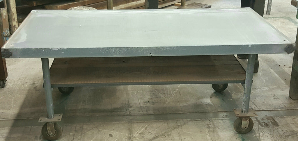 Industrial Table with Galvanized Top, Wood Shelf