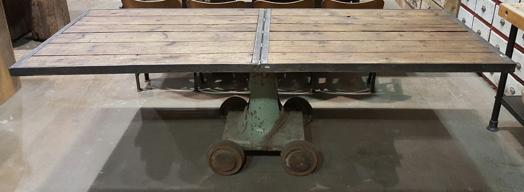 Industrial Dining Table with Iron Base from a Mine