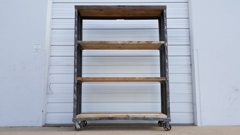 Rolling Industrial Rack with Barn Wood Shelves