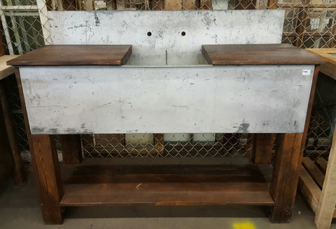 Triple Galvanized Kitchen Sink/Tub on Stand