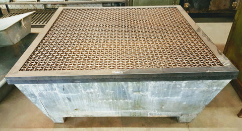 Industrial Coffee Table/Planter with Beautiful Riveted Stainless Steel Base