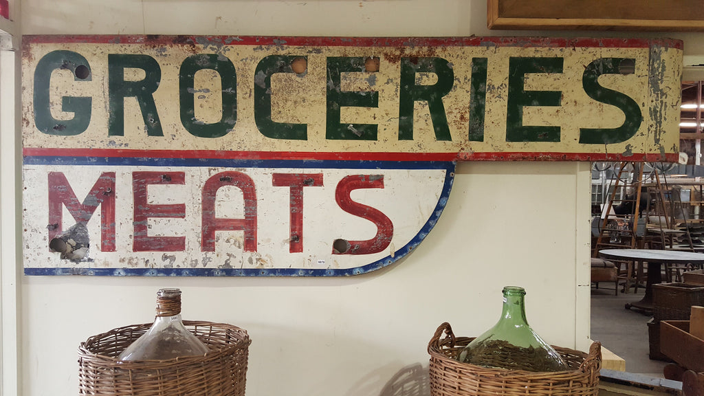 "Metal Sign, ""Groceries-Meats"" (Restaurant)"