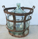 Clear Glass Steel Demijohn Wine Bottle
