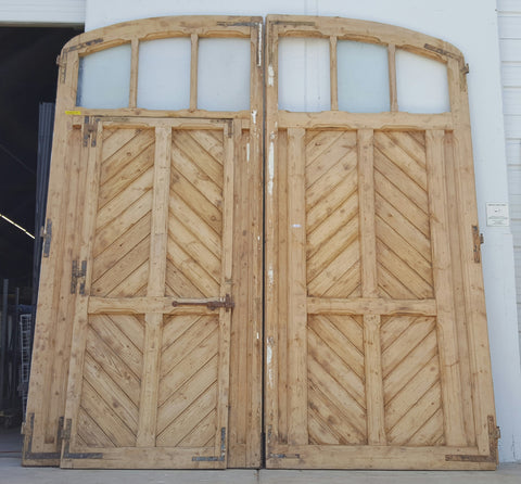 Pair of Stripped Barn Doors with Glass