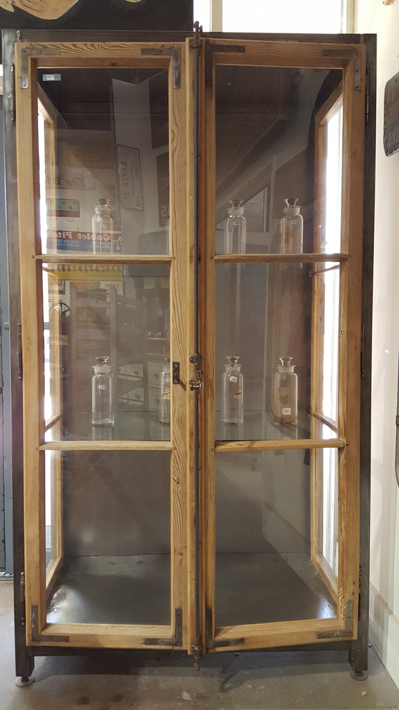 Repurposed Steel and Wood Display Cabinet