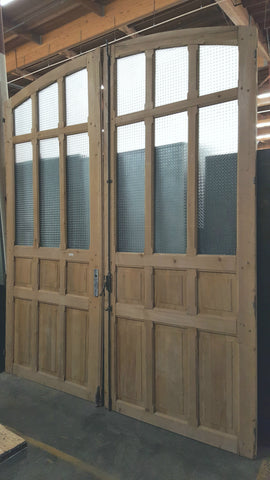 Pair of Arched Wood and 6 Glass Pane Carriage/French Doors