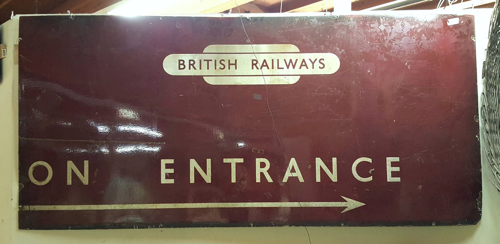 On Entrance Directional Metal British Railways Sign