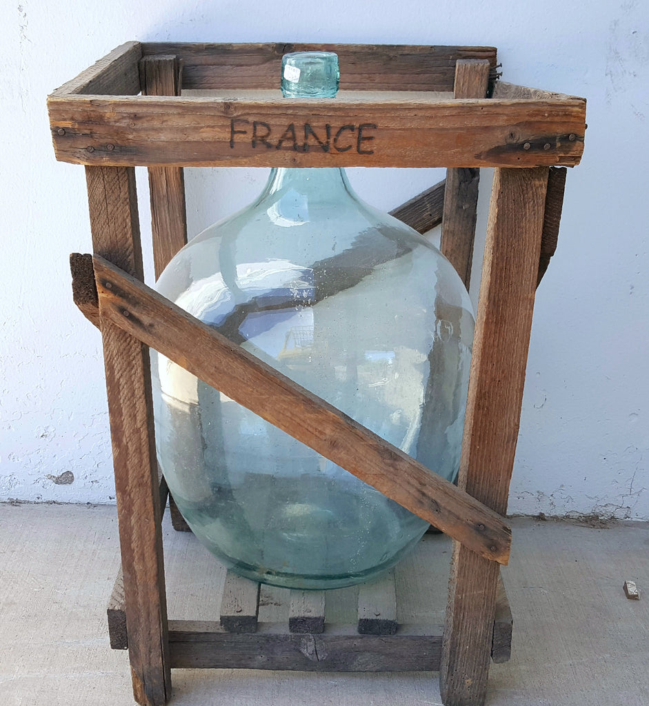 French Wine bottle in Crate (kitchen decor) – Antiquities Warehouse