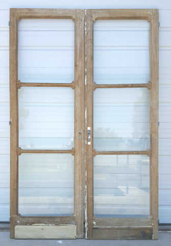 Pair of Oak, 3 Panel Glass Doors