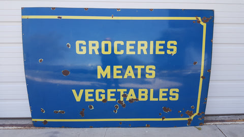 Porcelain Groceries, Meats and Vegetables Sign (Restaurant)
