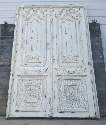 Pair of White Painted Wooden Doors