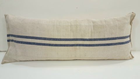 French Grain Sack/Body Pillow Case with Blue Stripes
