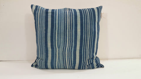 Large Square Blue Striped Batik Pillow