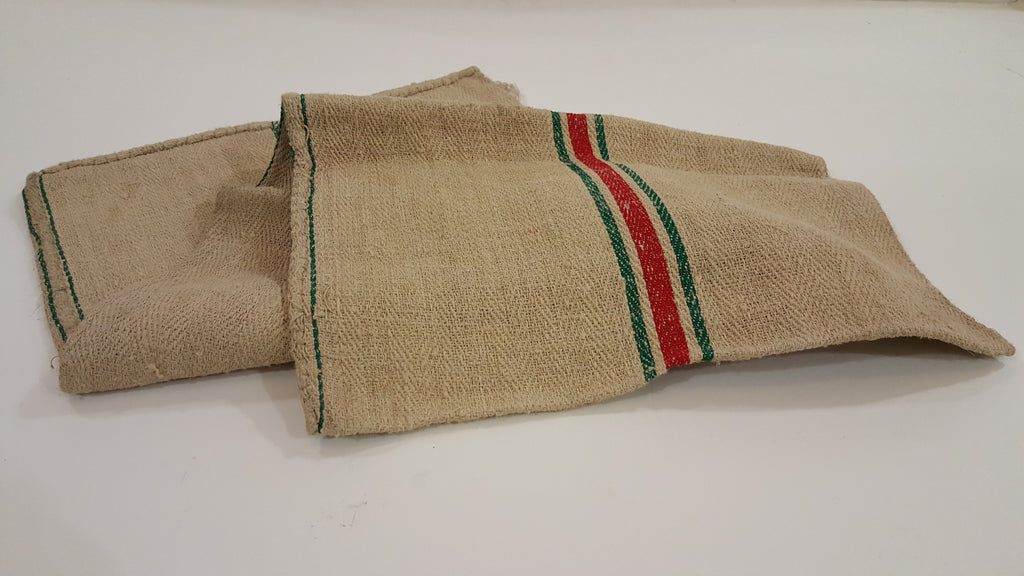 Red & Green Striped French Grain Sack Body Pillowcase