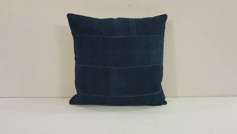 Navy Blue Batik Pillow (20x20)