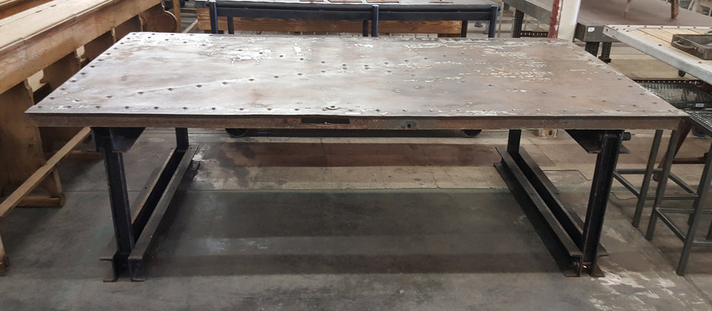 Salvaged Train Car Metal Industrial Table