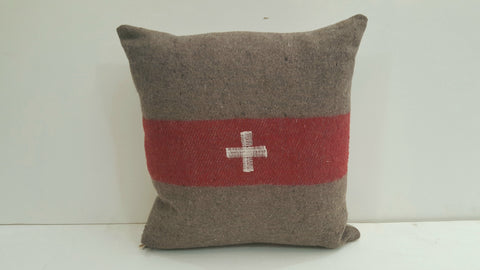 Pillow Swiss Cross, red stripe 17x17