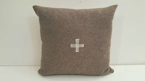 Pillow Swiss Cross Heather Color White Cross
