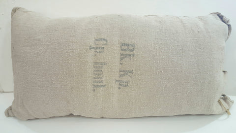 "French Grain Sack Pillow, ""Bk.Kp."""