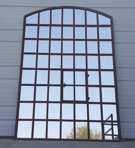 Re-Purposed, Arch Top Iron Factory Window/Mirror, 56 Panes