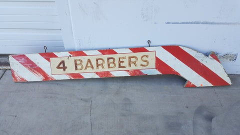 4 Barbers Red & White Arrow Wooden Sign