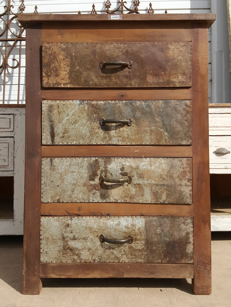 Wooden Chest with 4 Zinc Front Drawers