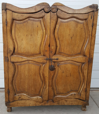 Antique 4 Panel Natural Wood Armoire