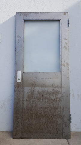 Metal Fire Door With Single Frosted Paned