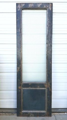 ... Pair Of Dark Metal Fire Doors With Pebbled Chicken Wire Glass ...