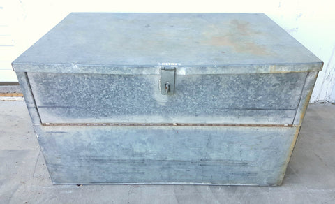 Galvanized Trunk with Folding Lid
