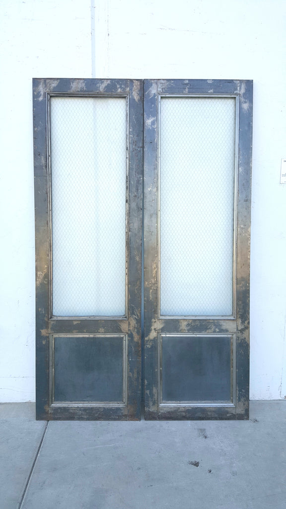 Pair of Dark Metal Fire Doors with Pebbled Chicken Wire Glass ...