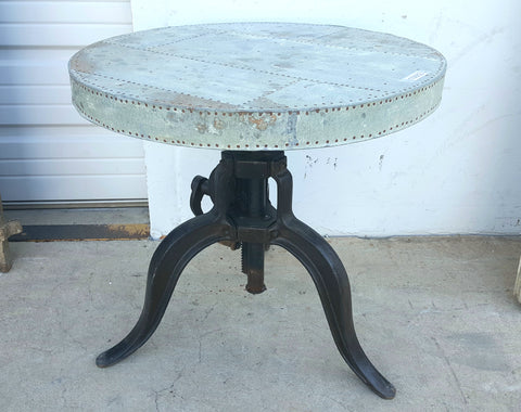 Crank Table Base with Riveted Zinc Top