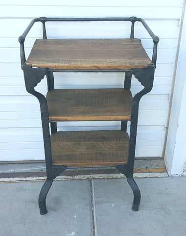 Iron Side Table with Wooden Shelves