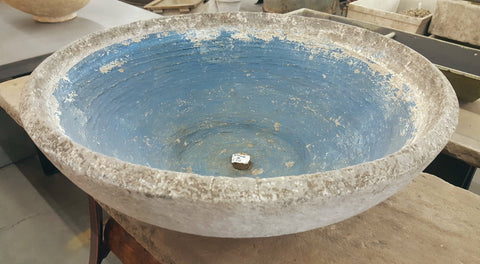 100 Year Old Blue French Concrete Bowl / Planter