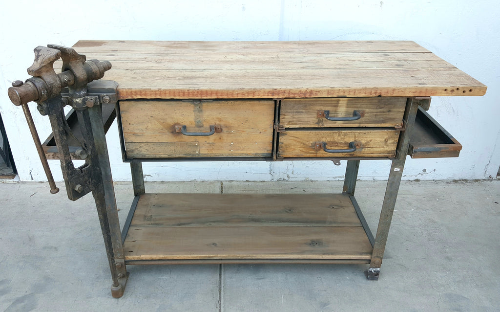 Antique Industrial Work Table