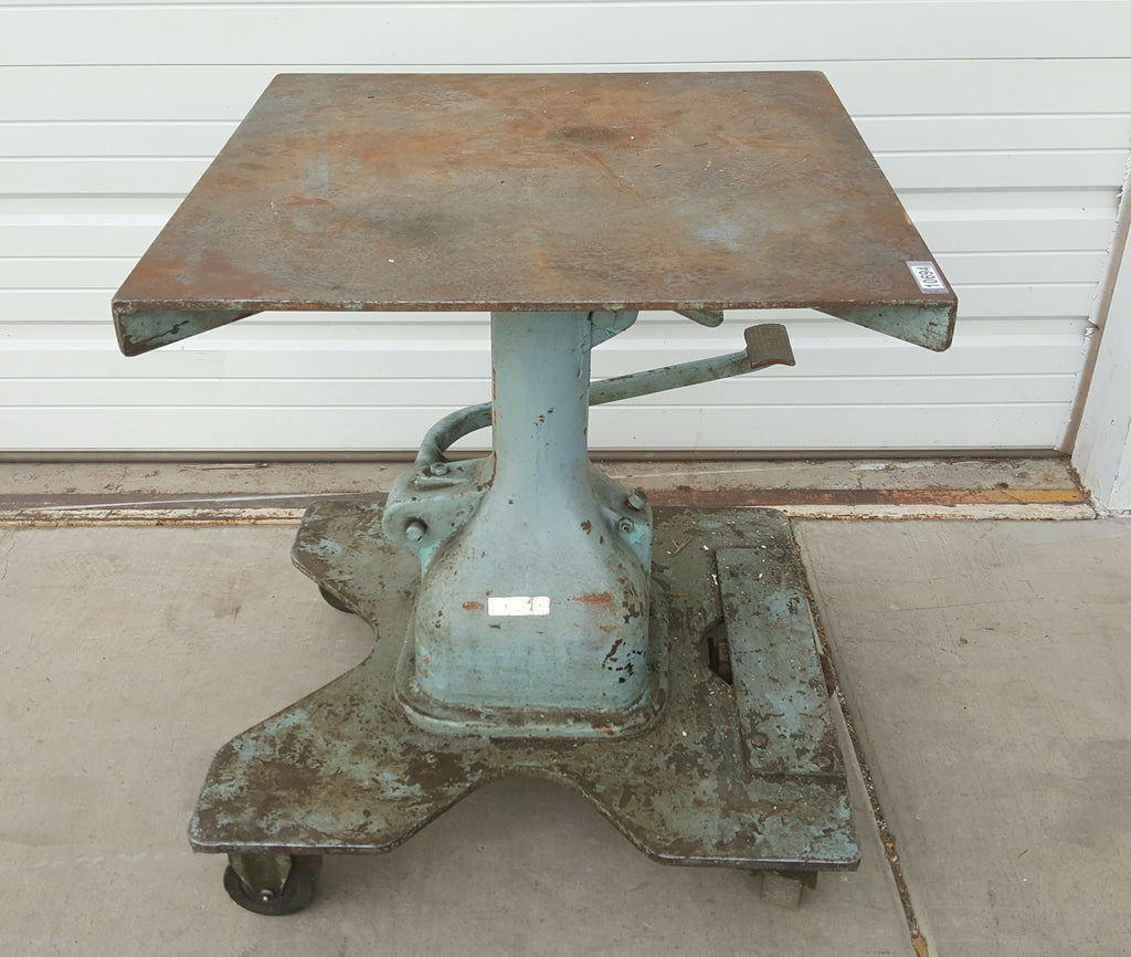 Green Industrial Table with Crank and Foot Pedal