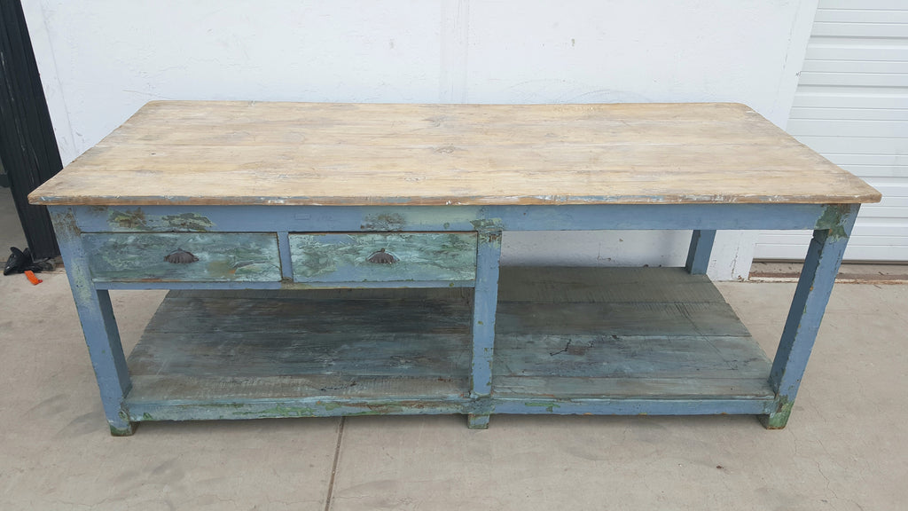 Blue Wooden Table/Island