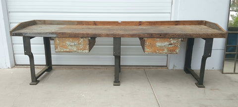 2 Drawer French Industrial Work Bench