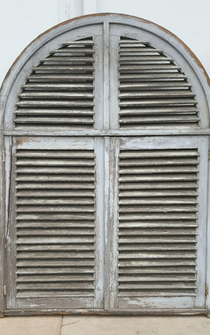 Painted French Shutter with Half-Round Transom
